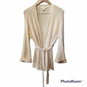 C&C California Cream Open Knit Belted Cardigan S